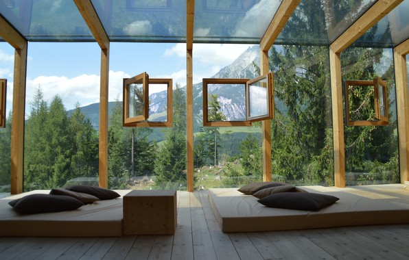 Picture glass, landscape, mountains, room, relax, wall, Board, Windows, interior, pillow, floor, the hotel, mattresses