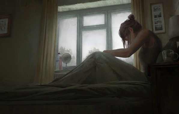 Picture girl, glass, art, window, room, artist, bed, bottles, digital art, artwork, lamp, mirror, sitting, paintings, …
