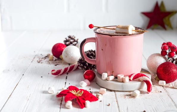 Picture decoration, New Year, Christmas, mug, Christmas, cup, New Year, decoration, Merry, hot chocolate, marshmallow, marshmallows