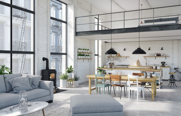 Picture interior, kitchen, fireplace, living room, dining room, Hamburg