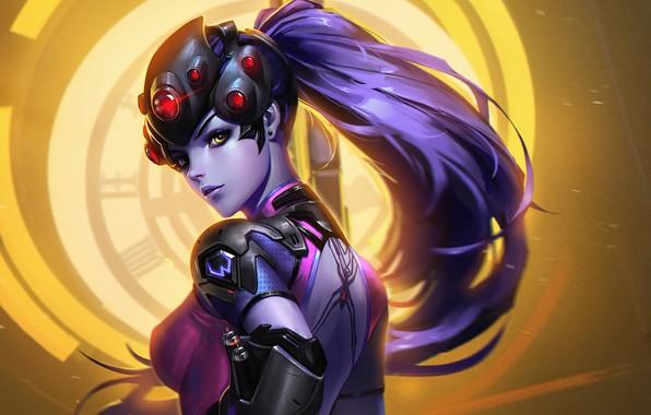 Picture girl, background, Overwatch, Widowmaker