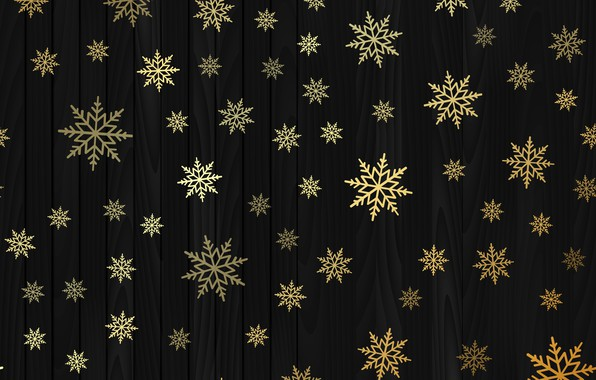 Picture winter, snowflakes, gold, New Year, Christmas, golden, black background, gold, black, Christmas, winter, background, New …