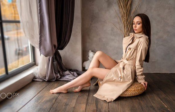 Picture pose, room, model, portrait, makeup, figure, window, hairstyle, brown hair, legs, curtains, cloak, sitting, Olga, …