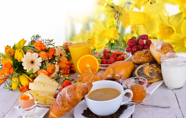 Picture flowers, table, egg, coffee, orange, bouquet, Breakfast, cheese, milk, strawberry, berry, juice, grapes, Cup, tulips, …