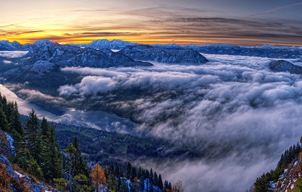 Picture photo, Nature, Clouds, Mountains, Austria, Spruce, Landscape, Styria