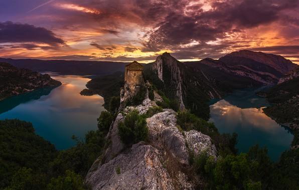 Picture the sky, clouds, sunset, mountains, rocks, tower, the evening, lake