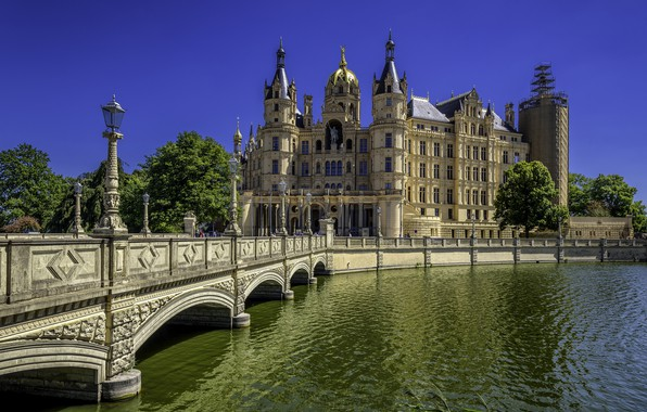 Picture bridge, river, Germany, Schwerin, Schwerin Palace