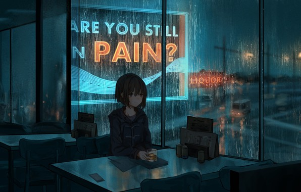 Picture night, rain, mood, anime, art, cafe