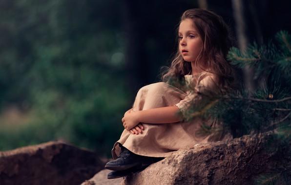 Picture mood, stone, girl, bokeh