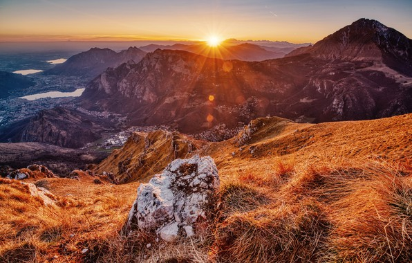 Picture mountains, dawn, France, morning