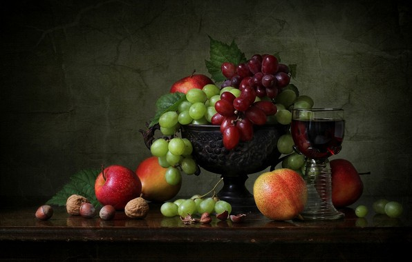 Picture style, apples, grapes, vase, fruit, nuts, still life, a glass of wine