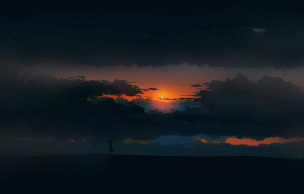 Picture girl, twilight, sky, landscape, Sunset, art, figure, clouds, sun, alone, mood, digital art, artwork, environment, …