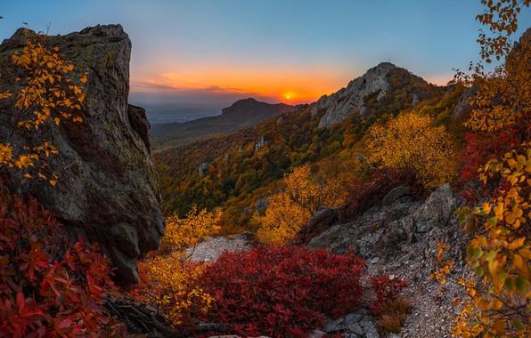 Wallpaper autumn, mountains, sunset