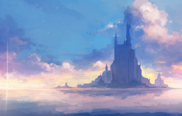 Picture sea, the sky, clouds, castle, by Axle