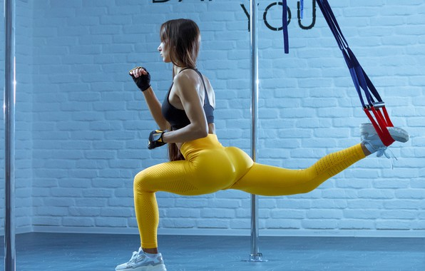 Picture girl, pose, wall, feet, fitness, training, leggings, Евгений Пименов