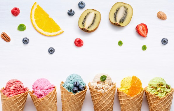 Picture berries, colorful, ice cream, fruit, horn, fruit, berries, ice cream, cone