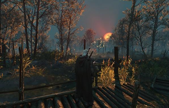 Picture Sunset, Landscape, Swords, The Witcher 3 Wild Hunt, Geralt