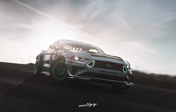 Picture Mustang, Ford, Microsoft, RTR, Monster Energy, game art, 2019, Forza Horizon 4, by Wallpy