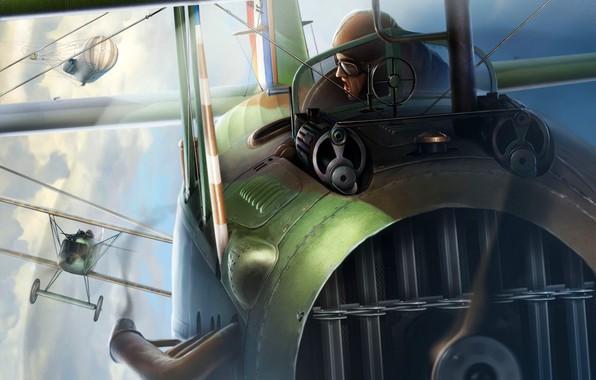 Picture Fighter, Biplane, SPAD S.XIII, The first World war, Pilot, 2x7.7-mm machine gun Vickers