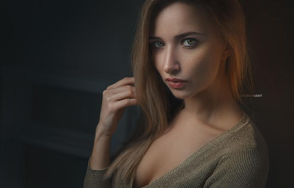 Picture chest, look, portrait, Girl, Alexander Drobkov-Light, Anna Parashchuk
