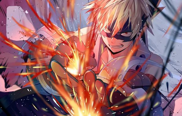 Picture smile, guy, My hero Academy, Boku No Hero Academy, Bakuga Katsuki
