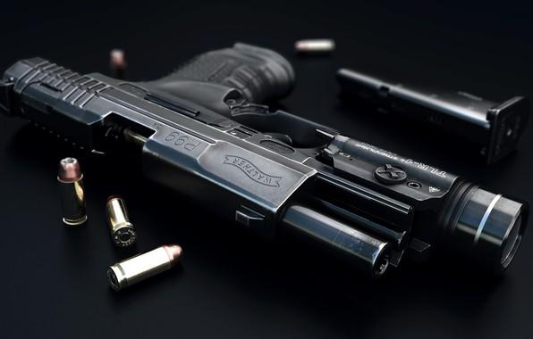 Picture weapons, art, cartridges, firearms, German gun, self-loading pistol, Luis Nieves, 9 MM Walther P99 Hand …