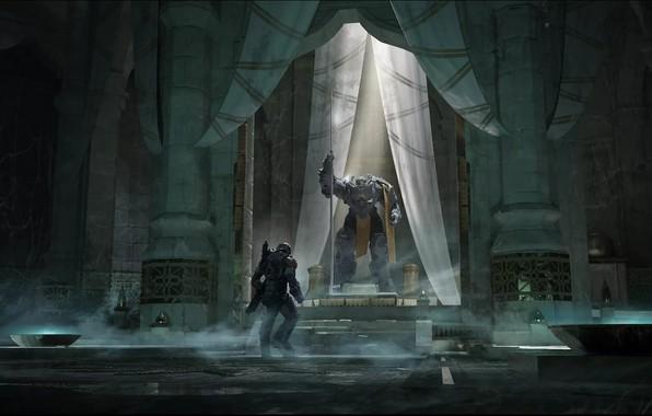 Picture fantasy, Robot, armor, weapon, science fiction, sci-fi, digital art, artwork, giant, warrior, fantasy art, futuristic, …