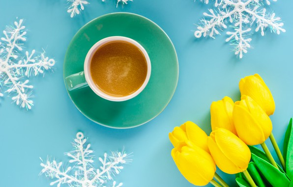 Picture winter, snowflakes, background, blue, New Year, Christmas, Cup, tulips, Christmas, yellow, blue, winter, background, cup, ...