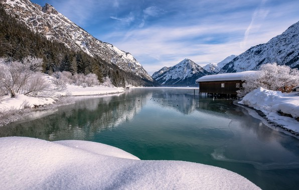 Picture winter, snow, mountains, lake, Austria, Alps, Austria, Alps, Tyrol, Tyrol, Bergsee
