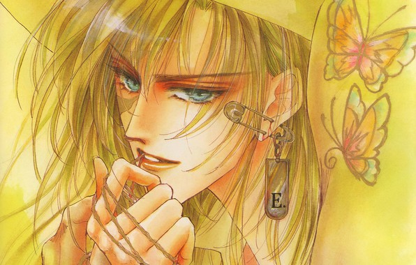 Picture butterfly, face, hands, piercing, guy, blue eyes, keychain, blonde, pin, Mamiya Oki
