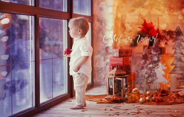 Picture toys, child, boy, small, window, New year