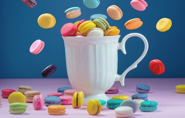 Picture colorful, mug, dessert, pink, cakes, cup, sweet, sweet, coffee, dessert, macaroon, french, macaron, macaroon