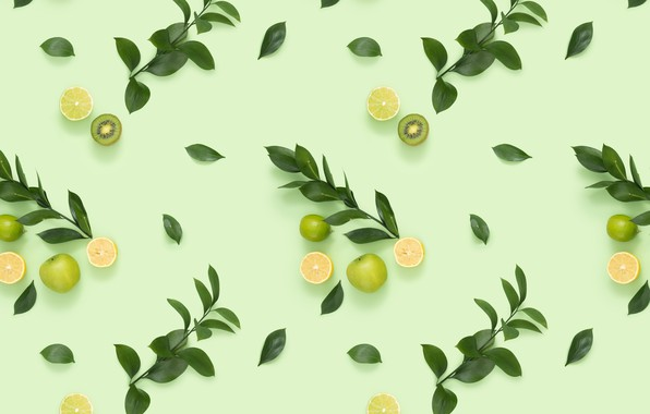 Picture leaves, branches, background, kiwi, citrus