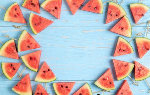 Picture watermelon, fresh, wood, slices, watermelon, slice