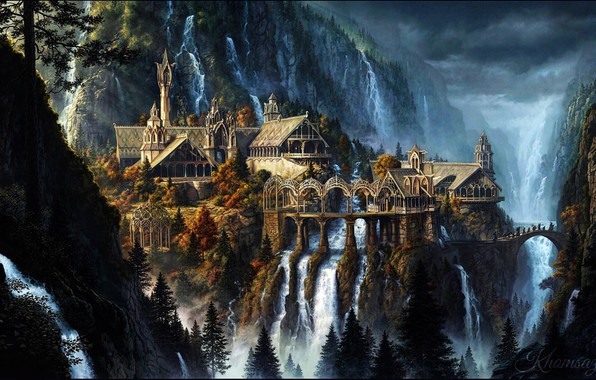 Picture Nature, Mountains, The city, Waterfall, The Lord Of The Rings, Landscape, Architecture, Fiction, Rivendell, The …