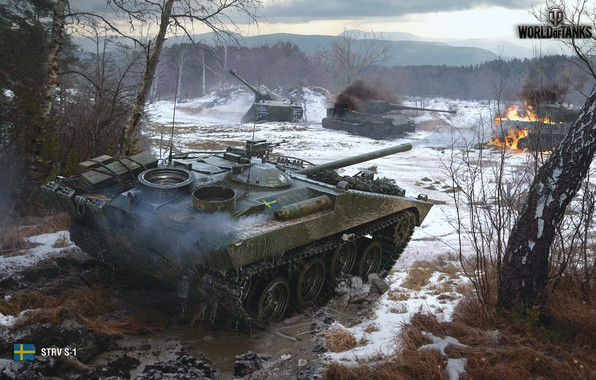 Picture forest, the game, battle, battle, game, forest, tanks, fight, bitch, battle, wot, self-propelled gun, tanks, …