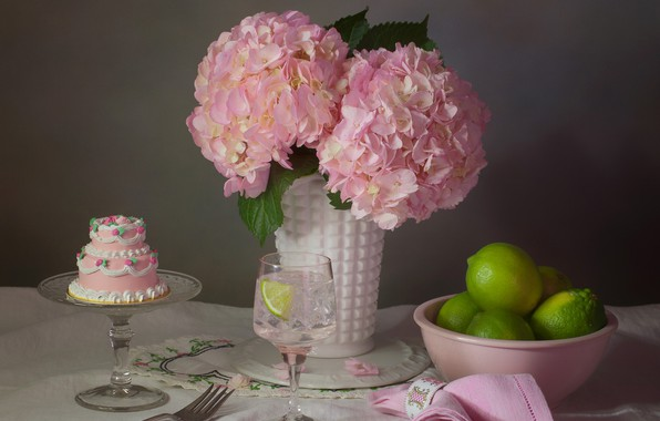 Picture flowers, style, pink, glass, lime, cake, still life, cake, napkin, hydrangea