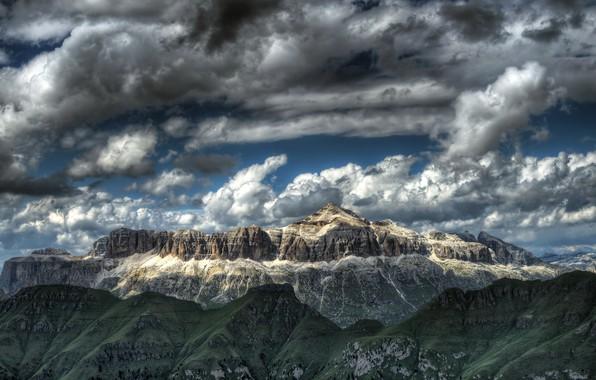 Picture the sky, mountains, nature, Italy, Trento, Canazei, Sella Group - Pian dei Fiacconi