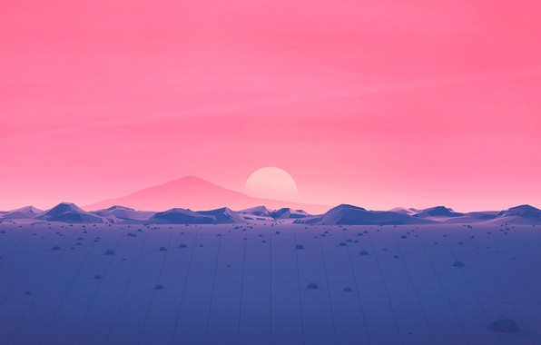 Picture Sunset, The sun, Music, Star, Style, Background, Landscape, Style, Neon, Illustration, 80's, Synth, Retrowave, Synthwave, …