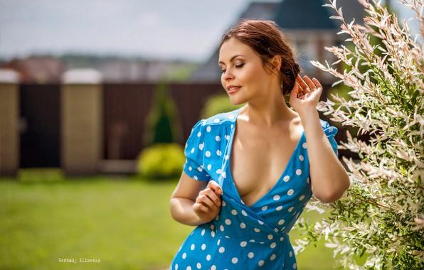 Picture girl, branches, pose, mood, polka dot, hands, dress, neckline, closed eyes, Gennady Klimenko