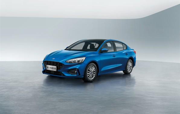 Picture blue, China, Ford, Focus, Edge, Sedan, 2019