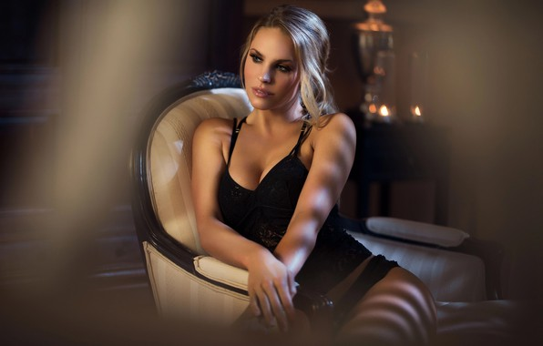 Picture girl, pose, chair, makeup, blonde, underwear, Maarten Quaadvliet