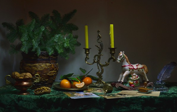 Picture photo, branch, candles, vase, nuts, still life, figures