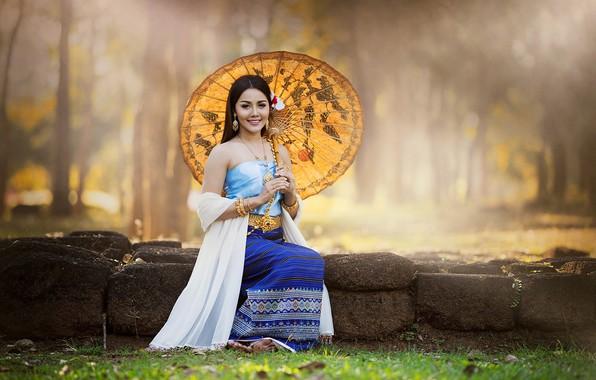 Picture girl, smile, umbrella, Asian, cutie