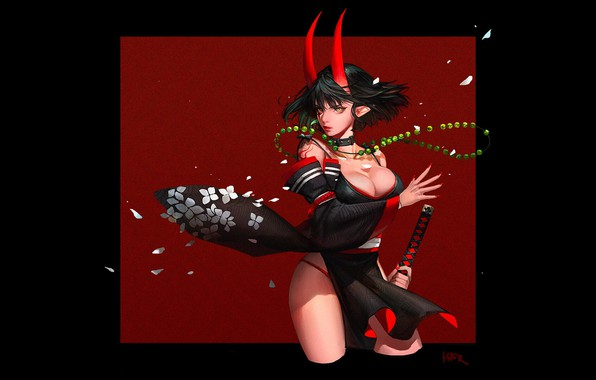 Picture red, girl, sword, fantasy, black, cleavage, horns, minimalism, weapon, breast, square, katana, samurai, artwork, warrior, …