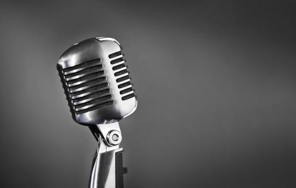 Picture retro, music, sound, microphone, singing