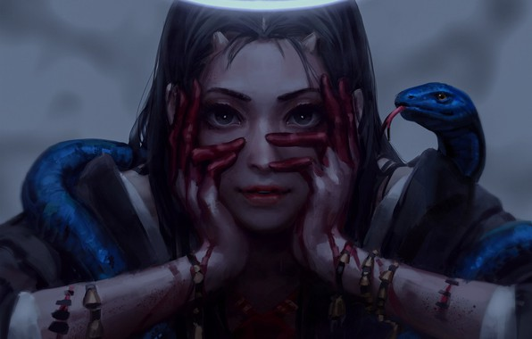 Picture ritual, horns, witch, demoness, art, scars, youkai, obsessed, black magic, guweiz, black snake, blood on …