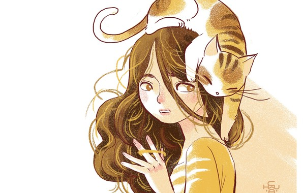 Picture white background, brown hair, curly hair, tabby cat, on the head, girl with a cat, …