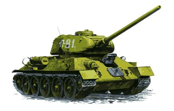 Picture Figure, White background, USSR, Art, Tank, Tank, Medium tank, T-34-85
