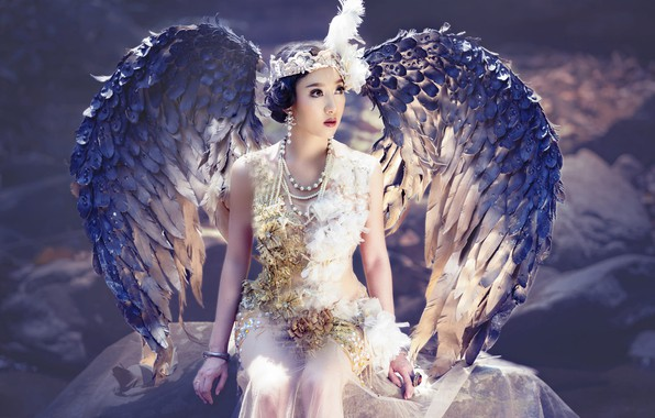 Picture look, girl, light, decoration, face, pose, style, background, bird, wings, angel, makeup, brunette, fairy, costume, …